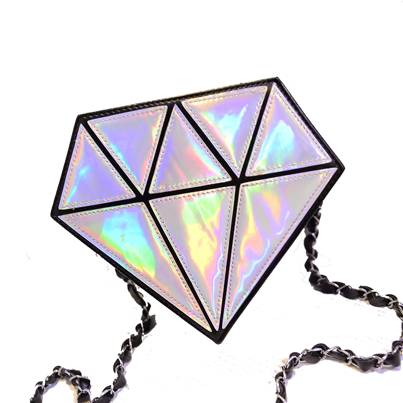 2018New fashion hologram bag diamond shape women messenger bag laser holographic bags crossbody chain bag 9 colors free shipping