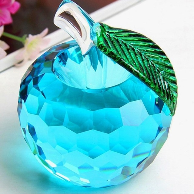 K9 Crystal Apple Home Decoration Crystal Crafts Home Decoration Accessories High Quality Crystal Wedding Decoration Gift