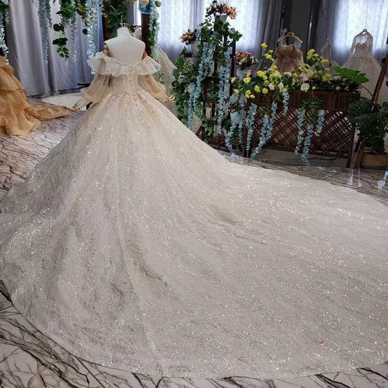 HTL534 נסיכת חתונת שמלות עם רכבת כבוי כתף נפוחה ארוך שרוולי תחרה עד בחזרה כלה שמלות vestidos בודהה רגוס