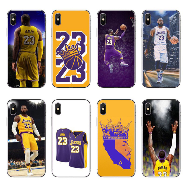 dee9212c77d Basketball LeBron James Los Angeles 23 Soft silicone Rubber Phone Case  Cover Coque For iphone 4 5 6 7 8 PLUS X Fundas Capa