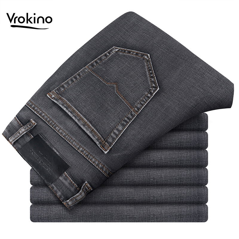 VROKINO Brand 2019 New Large Size 30-42 Men's Business Casual Gray Straight Jeans Fashion High Quality Loose Jeans