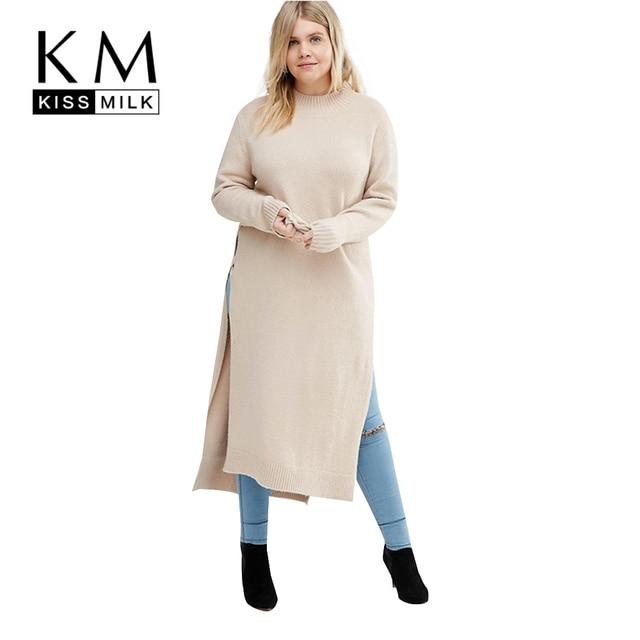 Kissmilk Plus Size New Fashion Women Clothing Solid Side Split Casual Tops O-Neck Long Sleeve Big Size Long Sweater 3XL 4XL 5XL