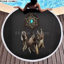 Bear Totem/Native Indian Bath Towel for Beach Thick Round 3d print Fabric Quick Compressed Towel new style-7 indian elephant print chiffon round beach throw