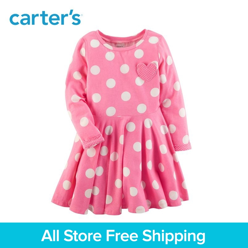 Carter's 1-Piece baby children kids clothing Girl Polka Dot Jersey Dress 251G498 ruched polka dotted v neck jersey dress plum beige 8