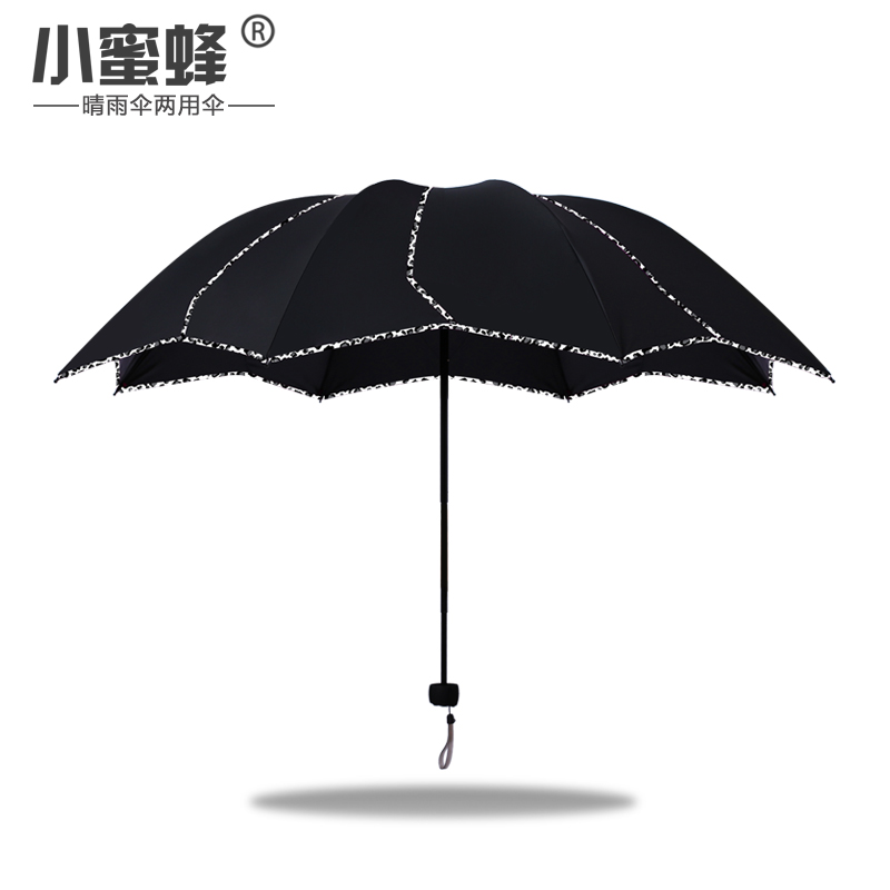 Click here to Buy Now!! Non-Automatic Folding Black Umbrella Rain Women  Leopard black coating Flower Paraguay Umbrella Rain Tools Sun Parasol 4bd68c7371788