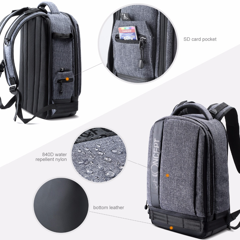 ca4edab3e6 K F CONCEPT Camera Backpack Waterproof Universal Travel Bag Padded High  Capacity Hold Tripod Straps for Canon. sku  32759659967