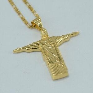 Anniyo Cristo Redentor Rio Brasilien Christus Die Erlöser statue Gold Farbe Schmuck Jesus Porträt Halsketten Abbildung Kreuz #01A220