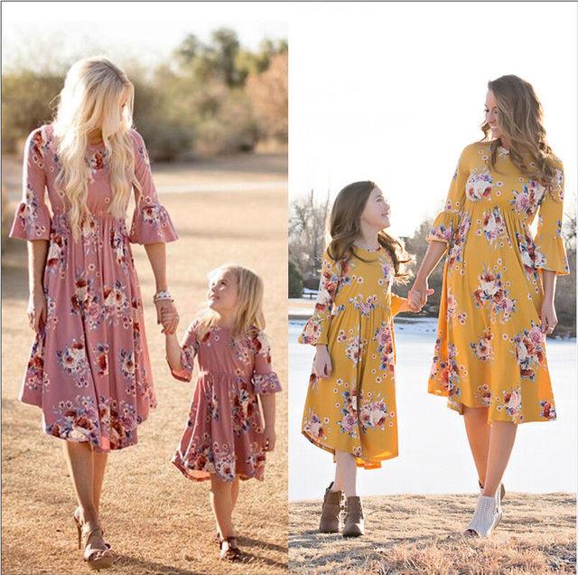 Summer Family Clothes Mother Daughter Sundress Women Kids Girls Dress  floral casual mom and me dress 8ac6edd7e59e