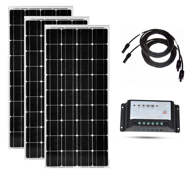 Solar Panel 12v 100w 3 Pcs Solar Modules 300w Solar Charge Controller 12v /24v 20A PV Cable RV Off Grid Motorhome Caravan Car image