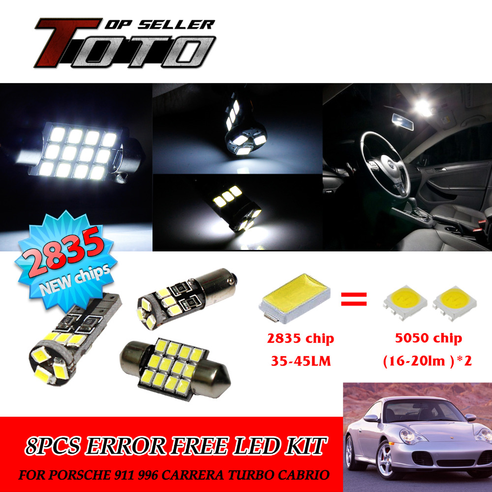 Подробнее о 9x LED Car Auto Interior Canbus Dome Map Reading Light White 2835 Chips Kit For Porsche 911 996 Carrera Turbo Cabrio #105 20x led car auto interior canbus dome map reading light white 2835 newest chips kit for bmw e83 x3 2004 2010 81