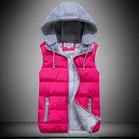 2017 winter new Korean version of the candy color down cotton vest large size women's hooded cotton vest white horse wholesale