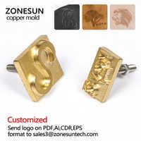 ZONESUN logotipo personalizado estampado en caliente molde de latón, papel de madera en relieve molde Placa de diseño DIY envío gratis