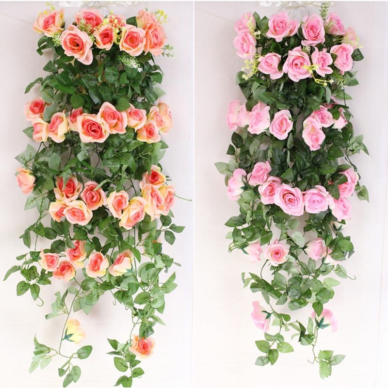 Bunga tiruan Rumah Taman Hiasan Perkahwinan Silk Palsu Rose 2.4m Hanging Bunga Garland Parti Festival Garlands TSLM1