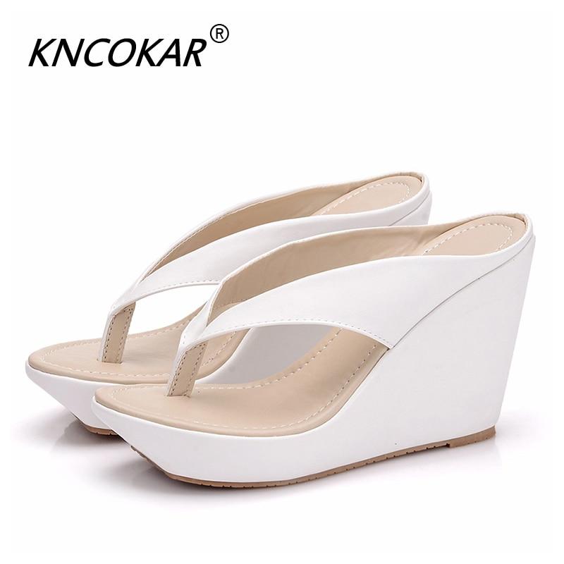 KNCOKAR Summer White PU Beach Sandals