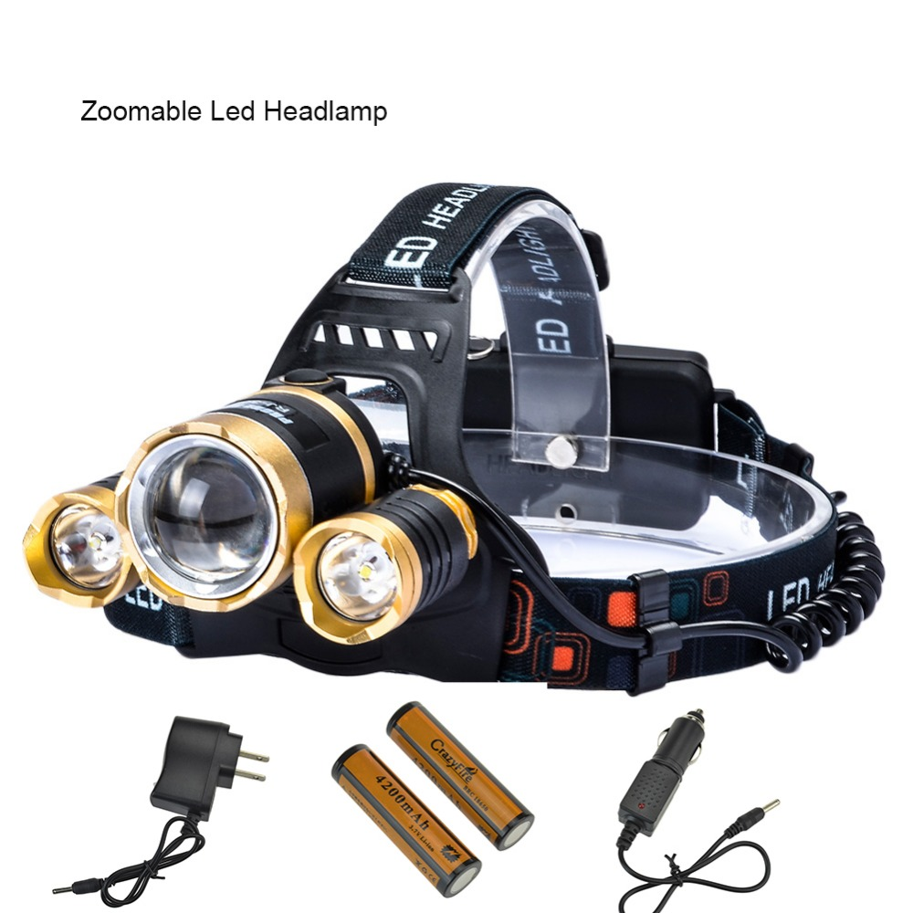 Best CREE XML T6 Zoomable Headlamp Head Torch Flashlight Rechargeable Led Headlight Outdoor for Camping +2*18650 Battery+Charger