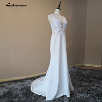 White Mermaid Beach Wedding Dresses 2018 Illusion Back Wedding Gowns Vestidos De Noiva Robe De Mariee