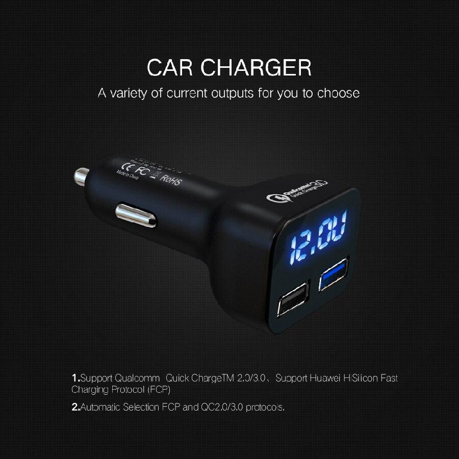 SUMPK Dual USB Car Charger LED Display Quick Charge 3.0 Car-Charger Fast Mobile Phone Charger for Samsung Huawei