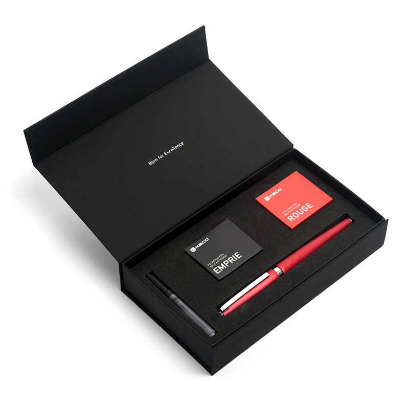 Kaco Equilibrio Rosso Nero Blu Grigio Penna Stilografica Inchiostro Set Pennino Fine 0.5mm Lusso Businees Penne Regalo Ufficio con Inchiostro cartuccia