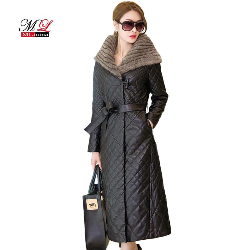 MLinina Winter Leather Jacket Women Coats Fur Collar Plus Size 5XL Black Winter Coat Female Waterproof Long   Parka   Soft PU Jacket