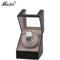 MISSFOX Mini Single Head Single Electric Shaker Automatic Winder Watch Box High Grade PU Leather Swaying Gift Box For Watches