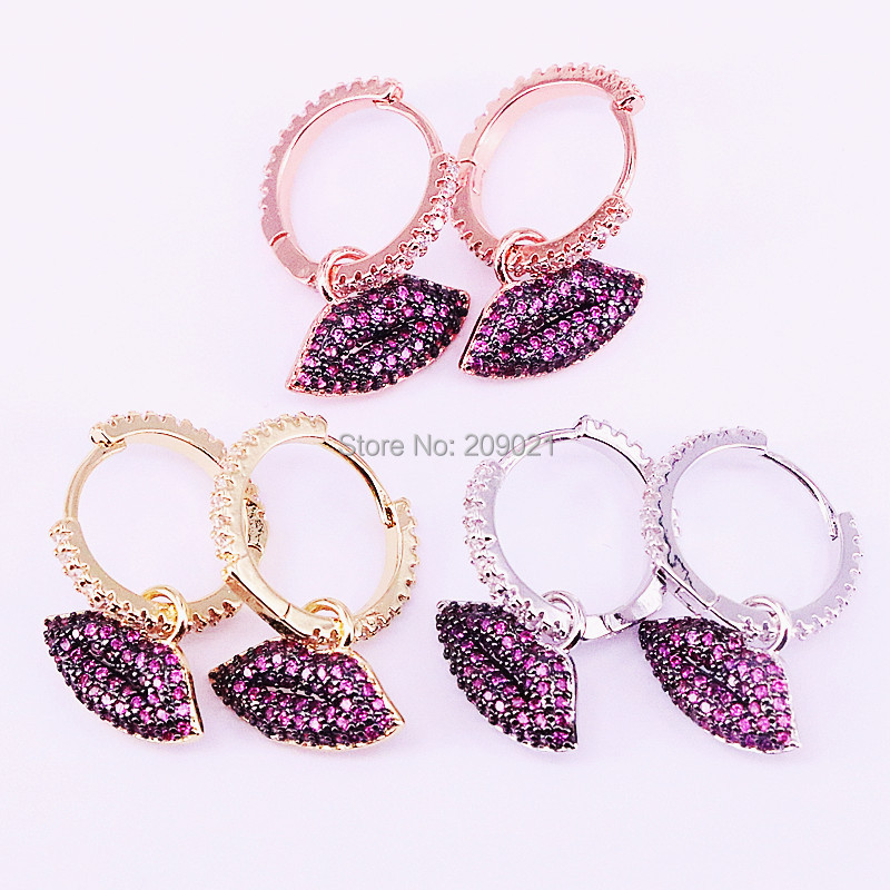 Earring Women Jewelry New-Fashion Lips For 5pairs Charming CZ Rose-Red Sexy Shiny