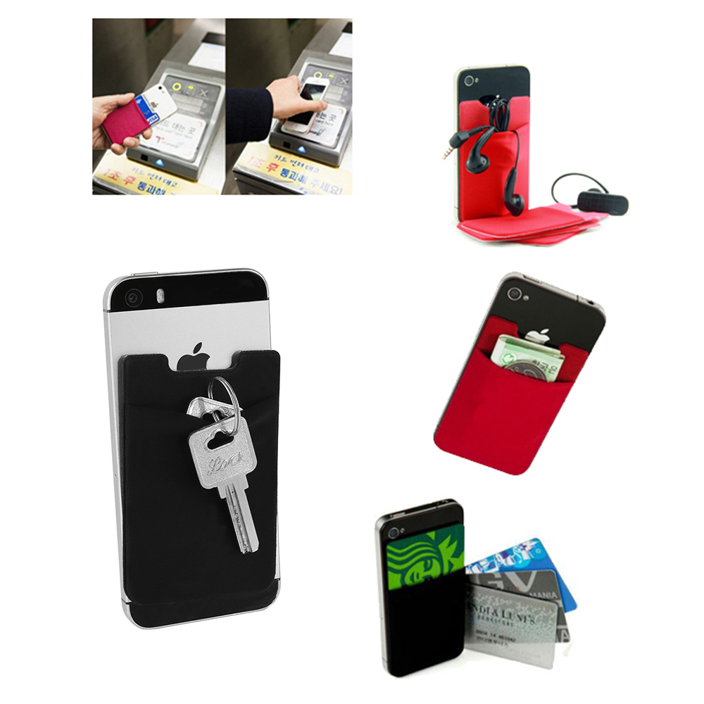 цена New Universal Phone Card Holder Elastic Cell Phone Wallet Case Credit ID Card Pocket Adhesive Sticker Cellphone Pocket