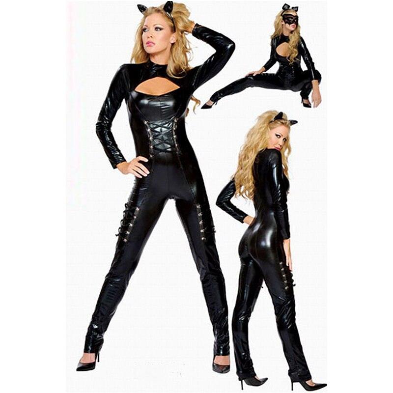 Buy Hot Women Sexy Black faux Leather Lingerie Bodysuits Erotic Leotard Costumes Rubber Flexible Latex Catsuit Catwomen Costume X673