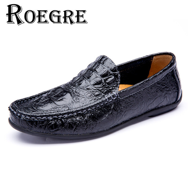 ROEGRE Stylish Men Loafers Leather Men Shoes Moccasins Men Flats Casual Crocodile Soft Leather Shoes Black Wine Red White Brown