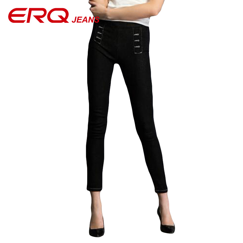 ERQ Women jeans High-Waist Elastic Ankle-Length Pencil Pants High-Elasticity Skinny leggings Solid Trousers 10237