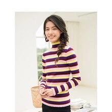 INMAN зимний женский теплый пуловер с высокой горловиной и цветными полосками