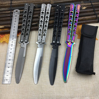 Stainless Steel Training Black Butterfly Blades Knife Balisong Folding Knife Butterfly Trainer No Edge Dull Tool