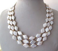 vogue popular 3 row White Freshwater Pearl Necklace 17 19