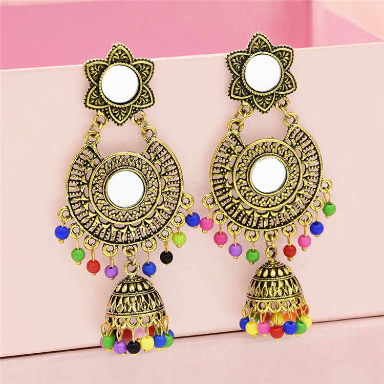 Egypt Golden Tassel Statement Earring Hippie Big Resin Beaded Earring Pendientes Jhumka Boho Turk Afghan Mexico Indian Jewelry