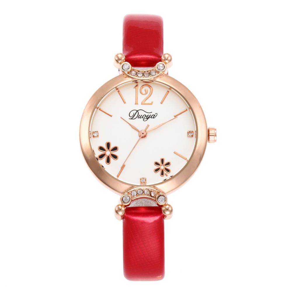 New Fashion Luxury Flower Golden Dial Leather Quartz Women Watch Ladies Femininity Wrist Watches Relogio Feminino Reloj Mujer
