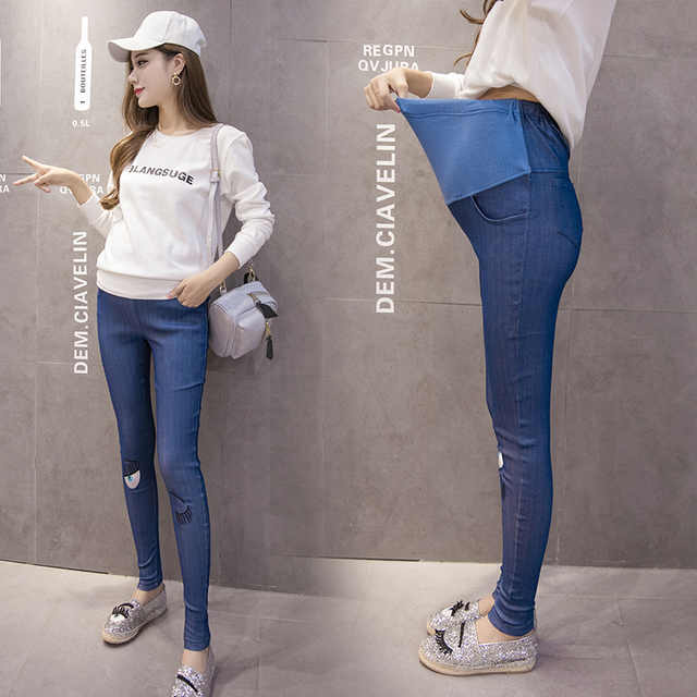 7d5504e3f4976 Hot Sale New Fashion Pregnant denim embroidery eye care belly pants big  yards outer wear pants feet pencil pants Elastic waist-in Jeans from Mother  & ...