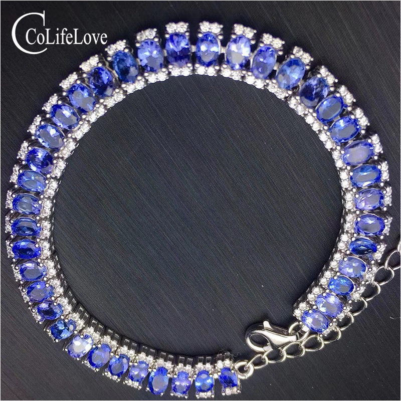 100% real silver <font><b>tanzanite</b></font> <font><b>bracelet</b></font> for wedding 3 mm * 4 mm natural VS <font><b>tanzanite</b></font> <font><b>bracelet</b></font> solid 925 silver <font><b>tanzanite</b></font> jewelry image