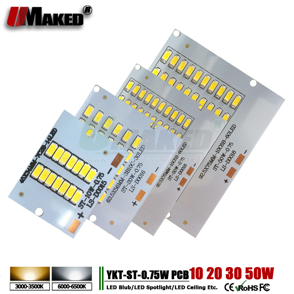 5pcs LED Pcb Floodlight Pcb Aluminum Lamp Plate 10W 20W 30W 50W SMD5730 Led Lighting Source Panel Lingts For Outdoor Floodlight