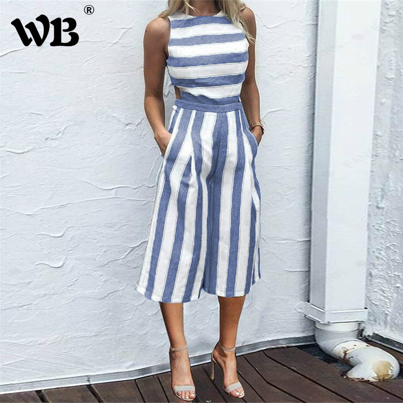 Summer Women's Sleeveless Striped   Jumpsuit   Casual Loose Trousers Fashionable Leotard Catsuit Combinaison Wide Leg Pants