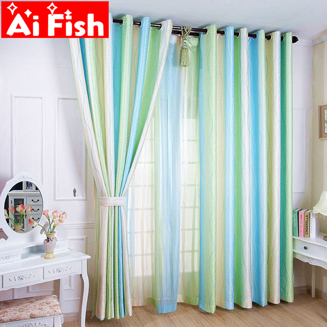 Green Jacquard Stripe Brief Curtains Sheer Tulle Blinds Curtains For