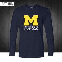 2016 nowy Michigan University American college baseball s jersey odzież bawełniana z długim rękawem t koszula rozmiar puls drukowane tee góry
