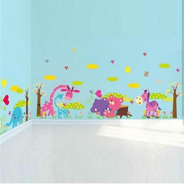 Elefanten giraffe eule bär blume baum wandaufkleber für kinderzimmer ...