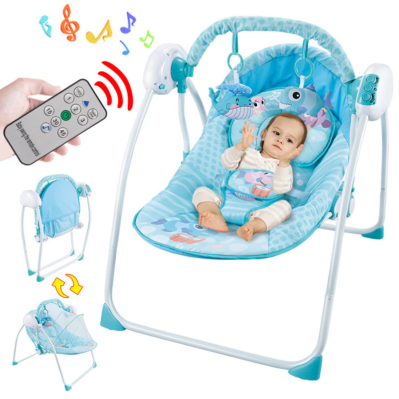 Baby Sleeping Chair Leather Slipper Chocolate Electric Intelligent Remote Control Swing Rocking Cradle Coax Infant Sleep Newborn Soothing Shaker Swings