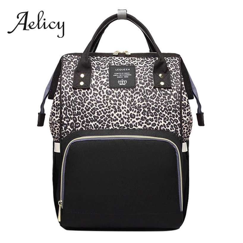 Aelicy Leopard Shoulder Mummy Bag For Baby Bottle Nappy Large Capacity Bottle Pack Nursing Bag Diaper Backpack WaterproofAelicy Leopard Shoulder Mummy Bag For Baby Bottle Nappy Large Capacity Bottle Pack Nursing Bag Diaper Backpack Waterproof