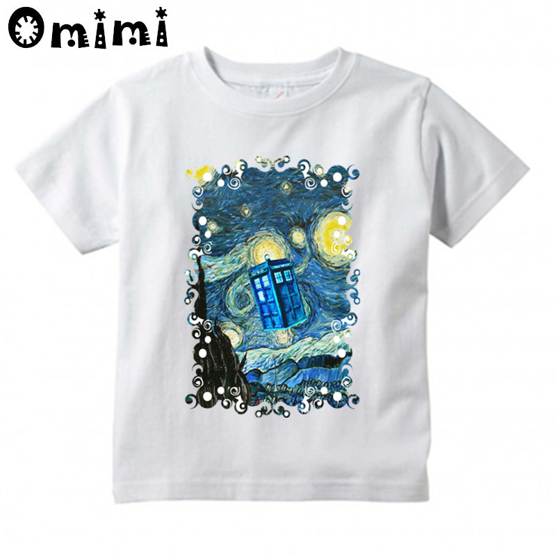 Children Doctor Who Booth Starry The Night Print T-shirts Boys/Girls Summer White T Shirts Kid Clothing Toddler Tops
