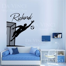 Soccer Player Goalkeeper Vinyl Wall Decal Personalized Custom Boyl Name Football Sport Art Sticker Bedroom Home Decoration