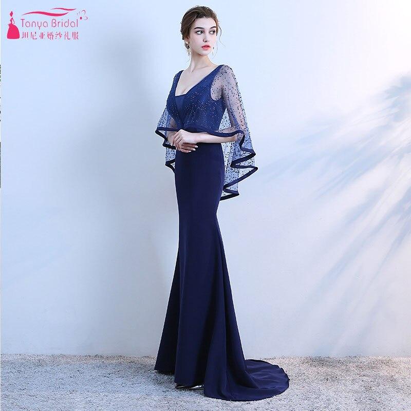 Deep V-Neck Dark Blue Mermaid Evening Dresses With Bolero 2019 Lace ...