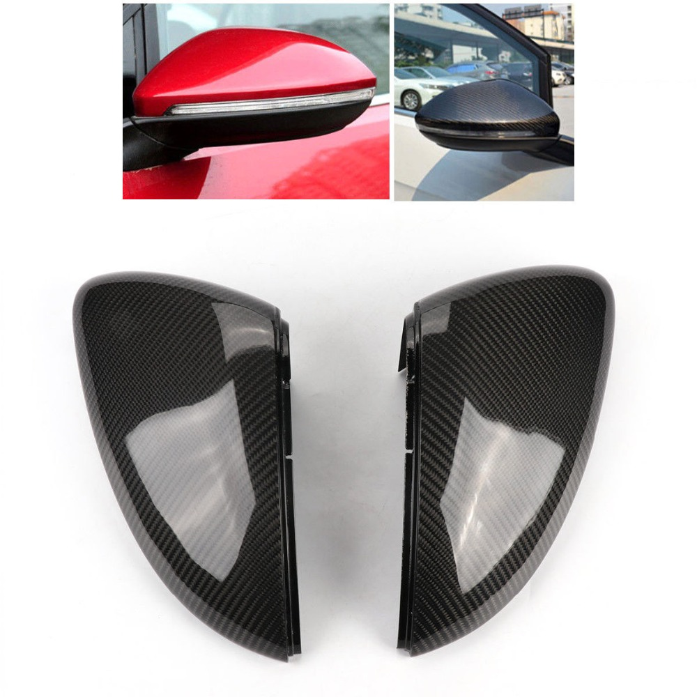 Good quality Carbon Fiber Rear Mirror Cover Direct-Replace For VW Golf 7 MK7 VII TSI GTI 2014 Mirror Case Rearview Mirror Cover car accessories carbon fiber side mirror cover caps frame replacement fit for 2013 2014 vw golf mk7
