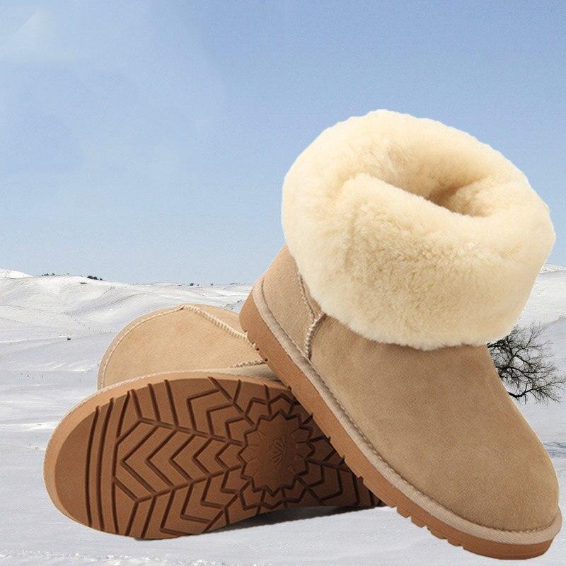 Модные Классические Теплые износостойкие Нескользящие зимние женские ботинки из овечьей кожи и шерсти, мужские зимние ботинки