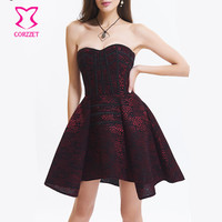 Red Floral Pattern Lace Steampunk Costume Women Sexy Gothic Dress Victorian Corsets And Bustiers Burlesque Corset