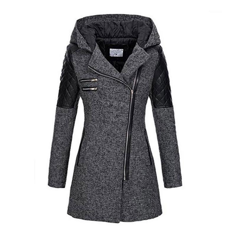 Corno Trench Fashion Lampo Donna Lungo Outwear Gray Del Spessore Della  Rivestimento Soprabito Tasto Cappotto E Impermeabili Di Inverno Con  Cappuccio ... 37fe2120628